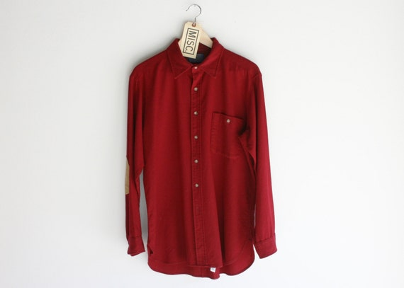 Vintage Pendleton Maroon Shirt with Suede Elbow Pads