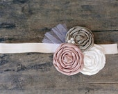Fabric Rosette Headband Mauve Champagne Cream