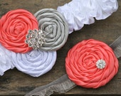 Bridal Garter Set Coral Silver White