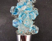 Beaded Wine Bottle Stopper:Clear Glass Beads with Blue Swirl