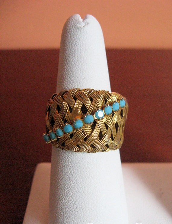 Vintage Woven Cocktail Ring Goldtone and Turquoise
