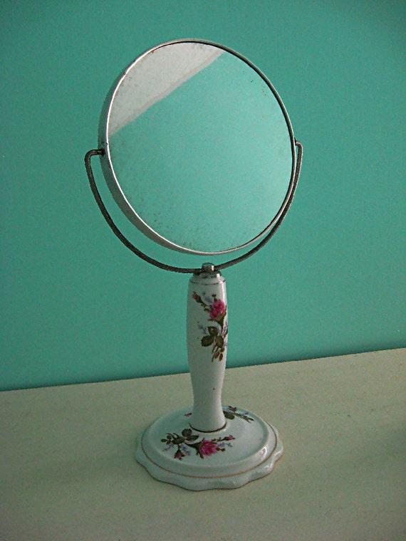 Vintage Porcelaine Roses Vanity Pedestal Mirror