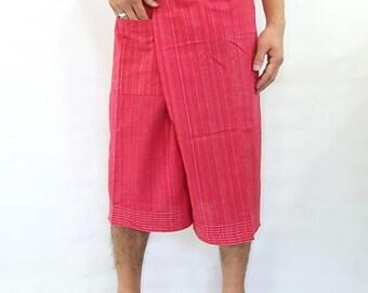 100% strip cotton thai fishermanpants handmade by my mum short 3/4 legs style 035S