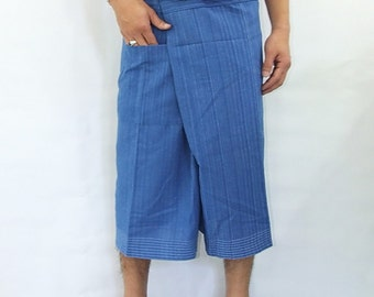 100% strip cotton thai fishermanpants handmade by my mum short 3/4 legs style 036S