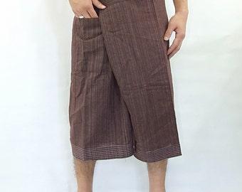 100% strip cotton thai fishermanpants handmade by my mum short 3/4 legs style 041S