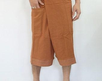 100% cotton thai fishermanpants handmade by my mum short 3/4 legs style 024S
