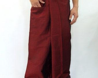 Simulate thai silk fisherman pants handmade by my mom long legs style 052Si