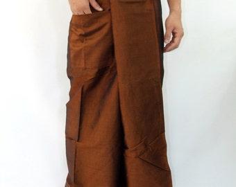 Simulate thai silk fisherman pants handmade by my mom long legs style 053Si