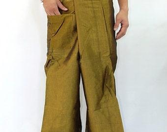 Simulate thai silk fisherman pants handmade by my mom long legs style 054Si