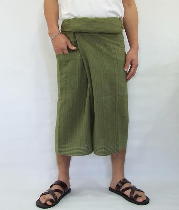 100% strip cotton thai fishermanpants handmade by my mum short 3/4 legs style 031S