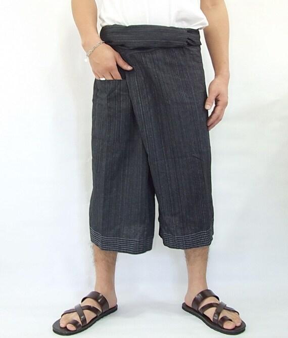 100% strip cotton thai fishermanpants handmade by my mum short 3/4 legs style 040S