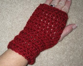 Cranberry Scarlet Red Fingerless Gloves Handwarmers