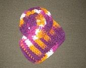 Tawashi Purple Orange and White Bath Scrubbie and Washcloth Set