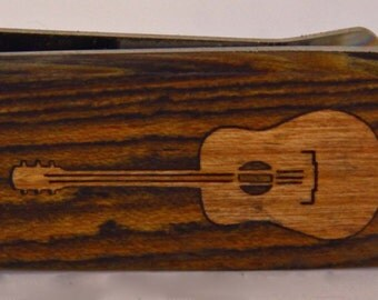Exotic wood Money clip with Cherry wood Guitar inlay