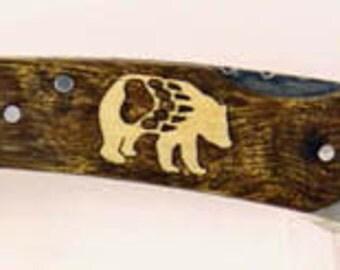 Browning custom Bear with Paw Inlay Pocket knife
