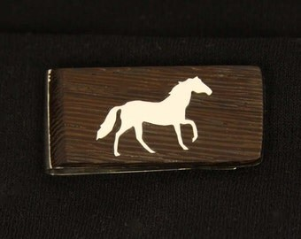 Exotic wood Money clip with hand cut Sterling Silver Horse Inlay.