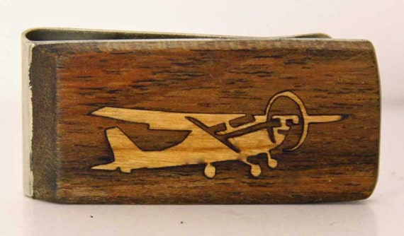 Exotic wood Money clip with Cherry wood Air Plane Inlay.
