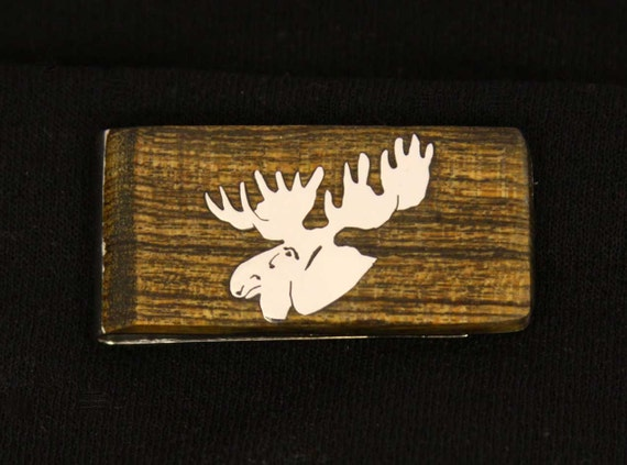 Exotic wood Money clip with hand cut Sterling Silver moose head Inlay.