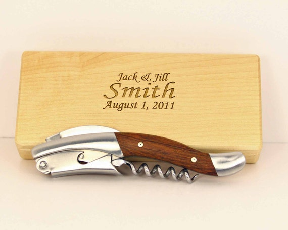 custom corkscrew wine opener with personalized maple box.