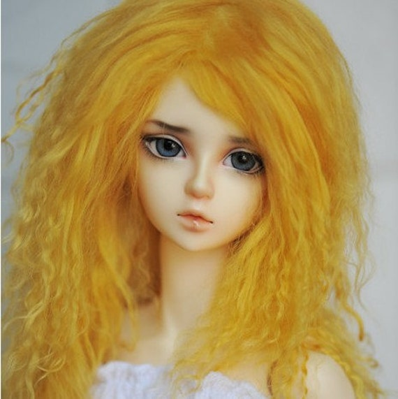 """10in"""" Long Gold Mohair Wavy Wig for Volks BJD SD Dolls"""