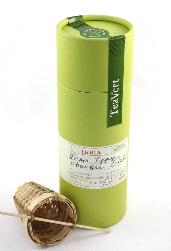 Assam TGFOP, Khongea Estate Loose Leaf Black Tea with Bamboo Infuser, 35 Servings Canister.