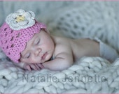 Crochet beanie with sweet scalloped edge and two layer flower GREAT PHOTO PROP
