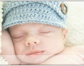 Crochet Newsboy hat The Adrian by akidos denim blue baseball cap style baby beanie the perfect PHOTO PROP