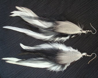 Black and White Feather Earrings