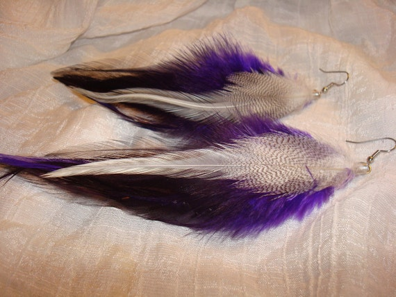 Purple Rain Feather Earrings - All earrings 10% OFF couponcode THANKS100 -