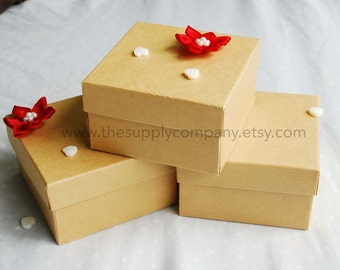 20 pcs 3.5x3.5x2 Natural Kraft Cotton Filled Jewerly Boxes -- perfect for gifts