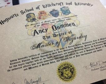 Hogwarts Diploma Customizable Harry Potter --- PARCHMENT PAPER