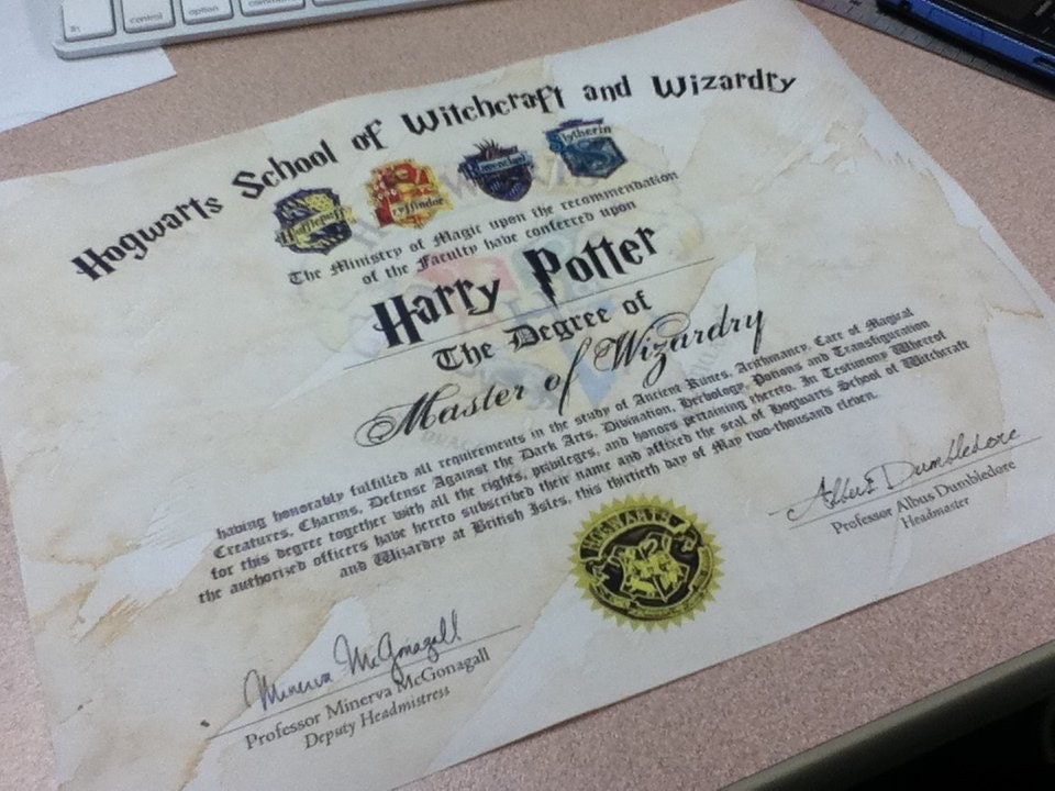 Hogwarts diploma customizable harry potter by thesupplycompany for Hogwarts diploma