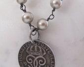 Platinum Swarovski Pearls Wire Wrapped with Smokey Quartz and a Swedish Coin