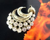 Vintage tail pin brooch with metal work and sparkling rhinestones  Code H12