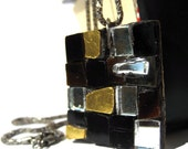 Vintage mosaic necklace with square Glass and mirrors pendant Code X60