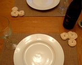 Rosette Burlap Placemats - set of 6 - Shabby Chic N Vintage Modern Country - perfect for wedding centerpieces as well