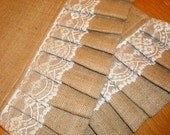 Set of 10 - Burlap Ruffles & Lace Table Runner - Modern Country - Shabby Chic - Wedding Parties - Vintage