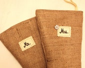 2 Burlap Stockings - MR. and MRS. with Rhinestone Button - Rustic Shabby Chic - Ecofriendly Christmas