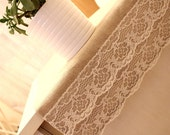 Ruffle Lace Burlap Table Runner & Cutlery Holder Set - Shabby Chic Rustic Vintage Wedding Parties