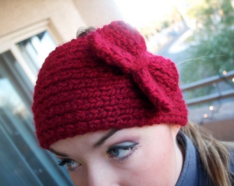Headband/Ear Warmer with Button Closure - WITH A BOW