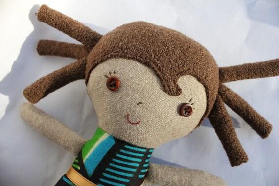 Handmade plush stuffed ragdoll toy with super cute dreadlocks