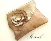 """Leather clutch bag in metallic shabby chic pink colour - handmade & fully lined - approx. 8"""" x 11"""" - lambskin- wedding purse"""