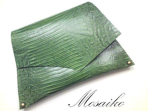 """Pyton Green leather clutch bag - handstitched envelope - purse - reptile leather 12""""x7"""""""