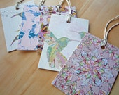 Patterns & Birds gift tags, Illustrated Art Designs, Blue Peach Pink Black, pack of 5