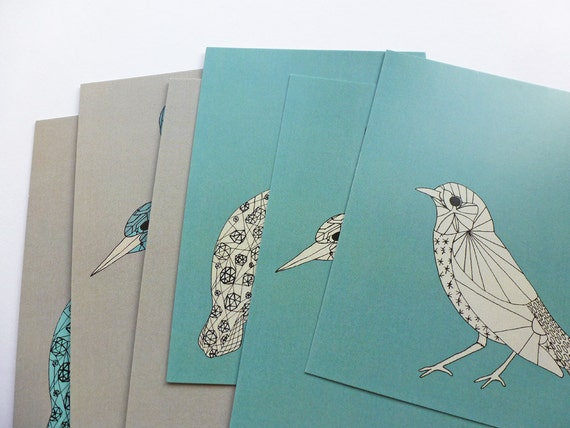 Bird Postcards, Green & Grey , Original Illustrations, set of 6 A6
