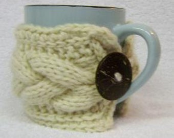 PDF PATTERN--Coffee Cozy--Tea Cup Mug Cozy Knitted Pattern---Ships Electronically