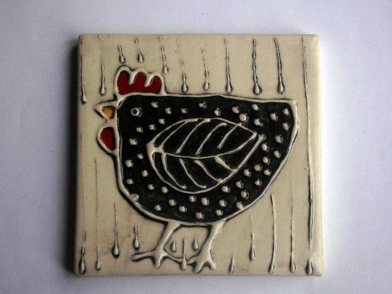 Black hen  in the rain tile 4''x4''