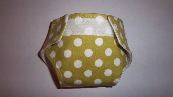 Baby doll diaper - green with white dots