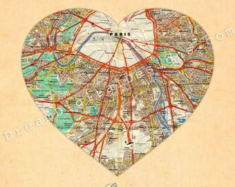 Paris Map, Wall Art Print, 8 x 10 Vintage City Map, Heart Map Wall Decor - As seen on Apartment Therapy