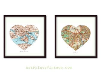 Heart Map Prints, Wedding Gift for Couple, Anniversary Gift, Map Art, Unique Engagement Gift, 1st Anniversary Gift, Husband Gift, Wife Gift